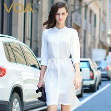 VOA Summer Women Solid Silk Blouse Ladies Office White Slim Dresses 2017 Female Casual Fashion Brief Women's Shirt Dress B5909