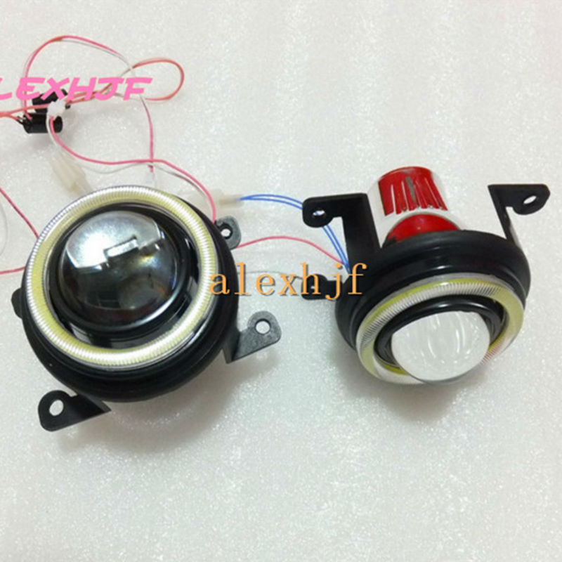 July King Bifocal Lens Fog Lamp Assembly COB Angel Eye Rings DRL case for Honda CRV Accord Fit City  Crosstour Everus Opel etc