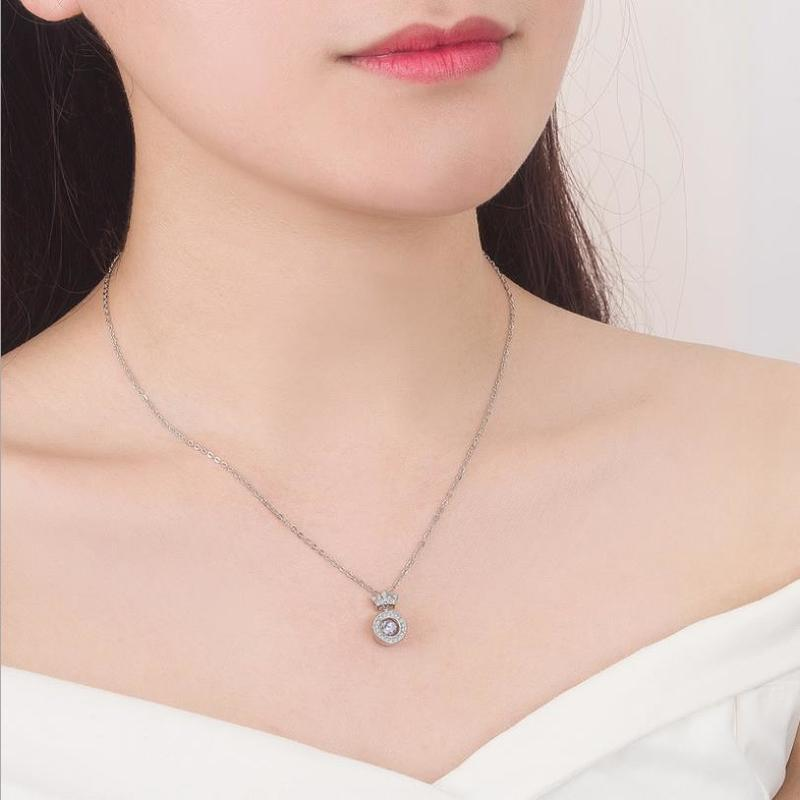 Everoyal Fashion 925 Silver Necklace Girl Accessories Vintage Female Crystal Crown Rose Gold Pendant Necklace For Women Jewelry in Pendant Necklaces from Jewelry Accessories