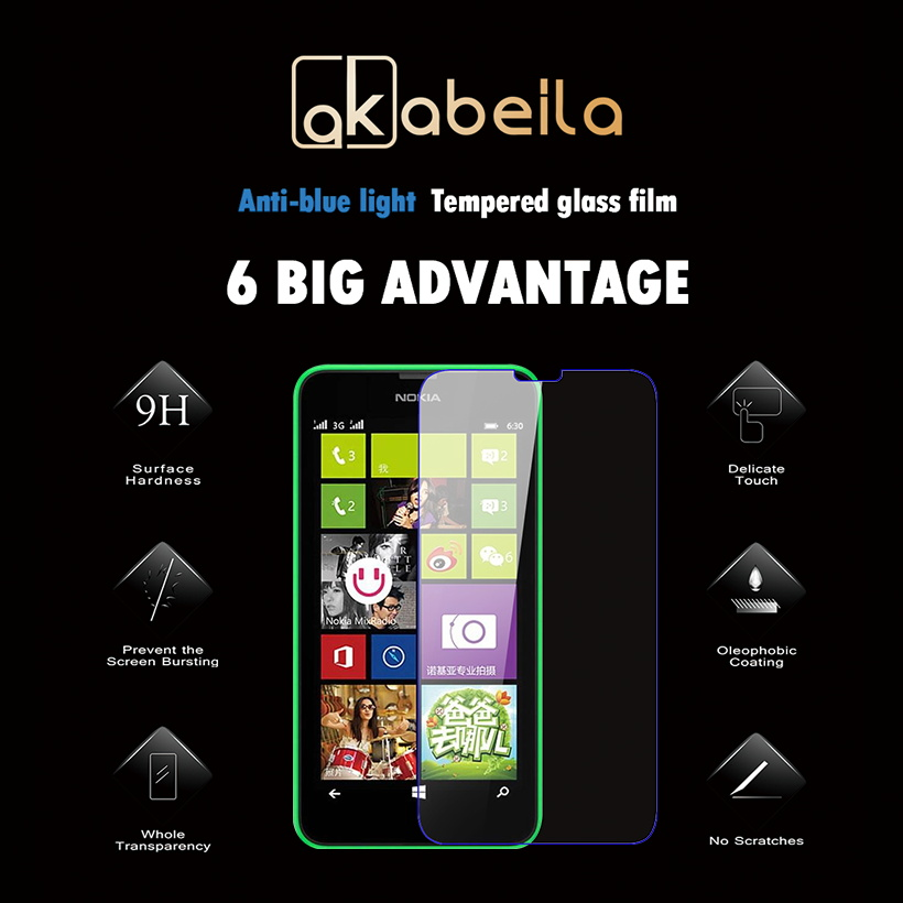 AKABEILA Tempered Glass For Nokia Lumia 630 DS Dual SIM RM-978 N630 3G RM-976 RM-977 RM-974 Screen Protector wholesale