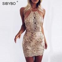 Sibybo Off Shoulder Summer Dress Women 2017 New Halter Bodycon Gold Beach Dress Sexy Cross Bandage