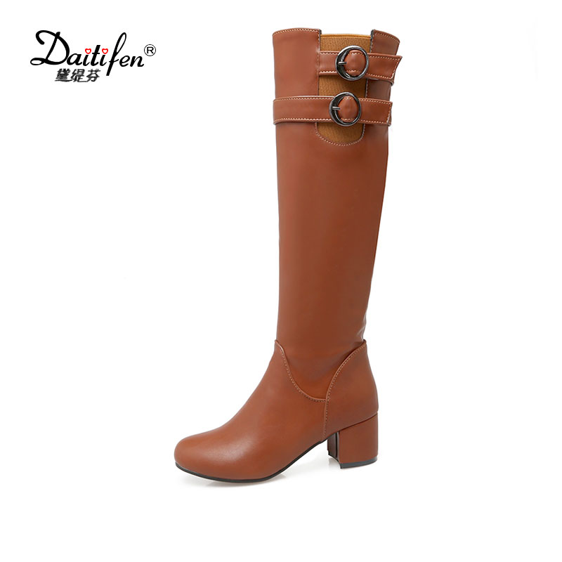 Daitifen 2017 Women  Winter Boots Short Plush Mid Calf Booties Cool Motorcycle Zipper Pumps Shoes Sexy Buckle Decor PU Leather winter women half boots platform chunky high heel patent leather plush buckle lace zipper martin ladies mid calf motorcycle boot
