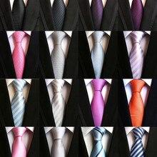 8 см Модный классический мужской галстук в полоску фиолетовый белый синий черный розовый Лавандовый жаккардовый тканый галстук из шелка галстук в горошек