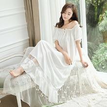 빈티지 공주 잠옷 잠옷 여성 레이스 프릴 Sleepwear.Lady 로얄 긴 Nightdress 로리타 잠옷 Loungewear Nightwear