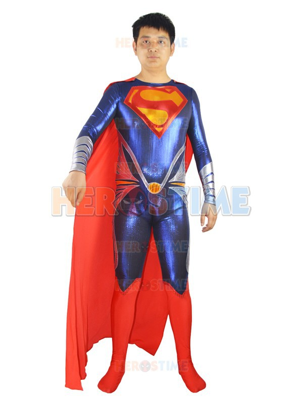 Classic Man Of Steel Superman Costume Shiny Metallic Adult Halloween Cosplay Superhero Costumes Show Zentai Suit Free Shipping