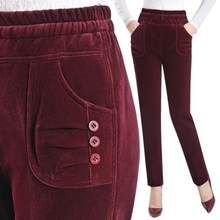 ca948313c5 Nuevas mujeres de otoño e invierno pantalones de pana pantalones de  terciopelo plus tamaño 4xl alta cintura elástica Pantalones .
