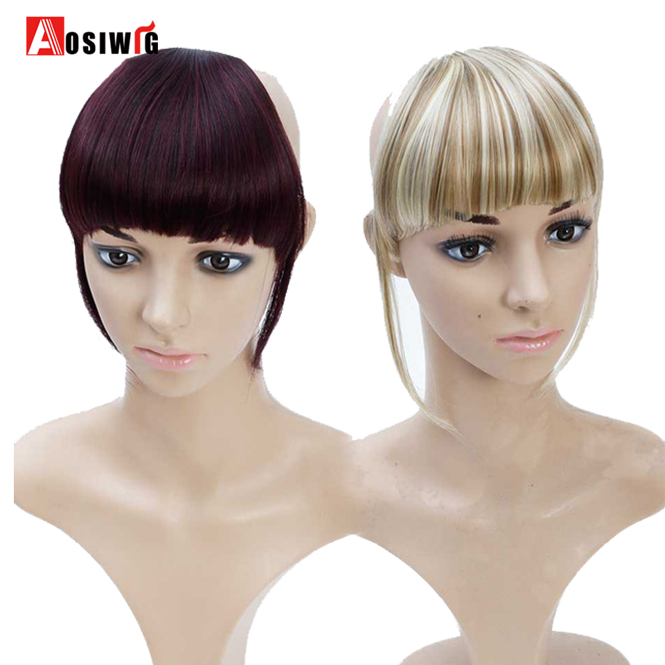 AOSI Synthetic Clip-In Bang Extension Hairpiece Bangs Fringe Clip In Hair Extensions One Piece Straight Hairpiece Accessories