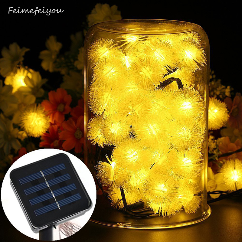 Outdoor Solar Powered 20LED String Lights Fairy Dandelion Ball су - Мерекелік жарықтандыру - фото 1