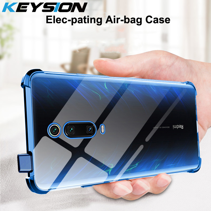 KEYSION Shockproof Case for Xiaomi Mi 9T 9T Pro A3 CC9e plating Air-bag Anti-knock Clear Cover for Redmi Note 7 8 7s K30 K20 pro(China)