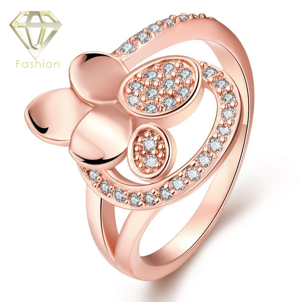 gold jewellery online shopping unique flower design inlaid cubic zirconia rose gold color engagement rings