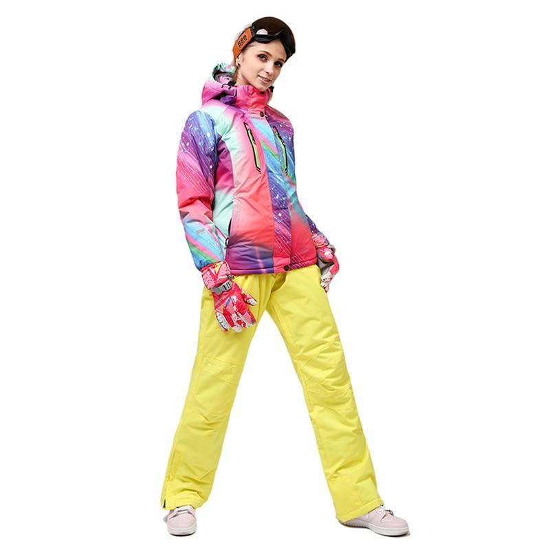 Combinaison de Ski 2018 combinaison de ski femme simple et double planche veste de ski femme + pantalon imperméable à bandoulière combinaison d'alpinisme