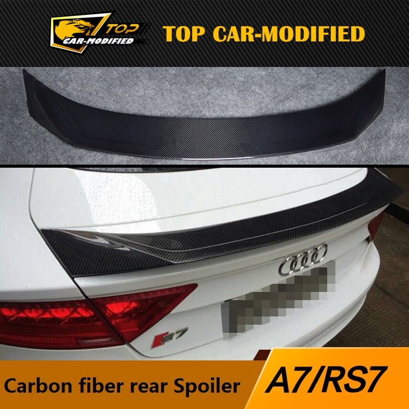 Free shipping Car Parts Carbon Fiber Boot Lip Rear Spoiler for Audi A7 S7 RS7