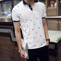 2018 summer new brand discount men's cotton short sleeved T shirt striped open chest lapel sports T shirt male