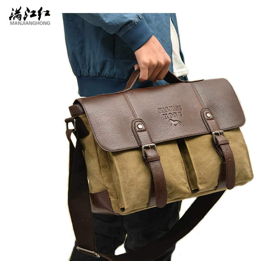 2016 Retro Men Briefcase Business Shoulder Bag Canvas Messenger Bags Man Handbag Tote Bag Casual Travel Bag Sac Hommes vintage crossbody bag dark khaki canvas shoulder bags men messenger bag man casual handbag tote business briefcase for computer