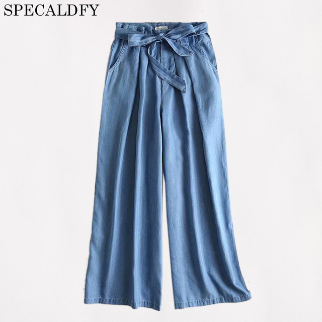 43a00643729 2018 Summer HIgh Waist Wide Leg Pants Women Casual loose Tencel Denim Jeans  Pants Trousers Palazzo Pants Pantalon Femme