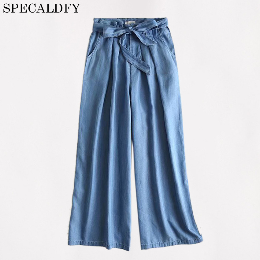 2018 Summer HIgh Waist Wide Leg Pants Women Casual loose Tencel Denim   Jeans   Pants Trousers Palazzo Pants Pantalon Femme