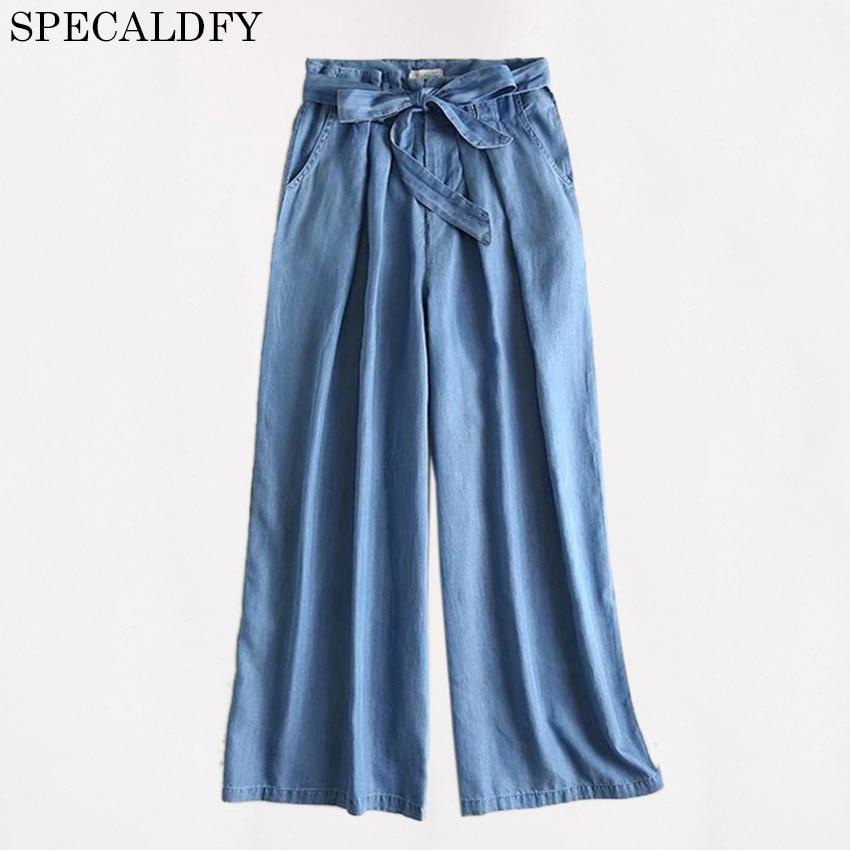 2018 Summer HIgh Waist Wide Leg Pants Women Casual loose Tencel Denim Jeans Pants Trousers Palazzo Pants Pantalon Femme