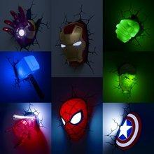 Мультяшная фигурка Marvel, настенный светильник, Железный человек, Человек-паук, Халк, Капитан Америка, герой, детский ночник, рождественские подарки на день рождения