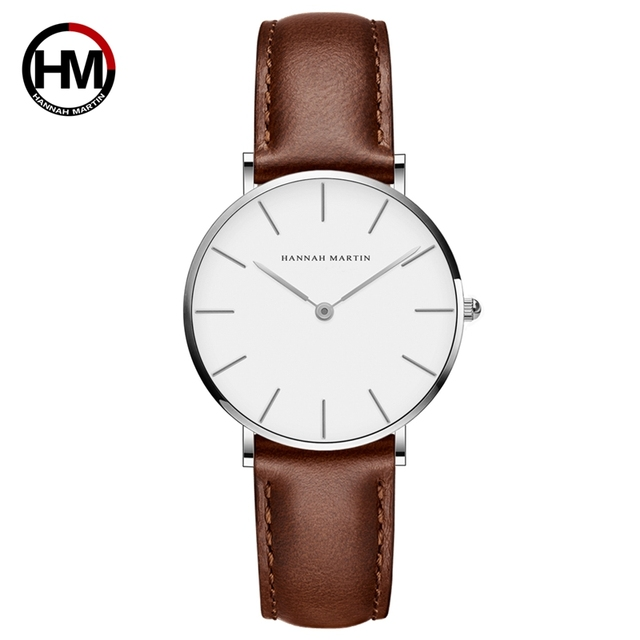 Japan Movement Brown Leather horloges vrouwen White Dial Women Top Brand Luxury Waterproof Watch relogio feminino zegarek damski