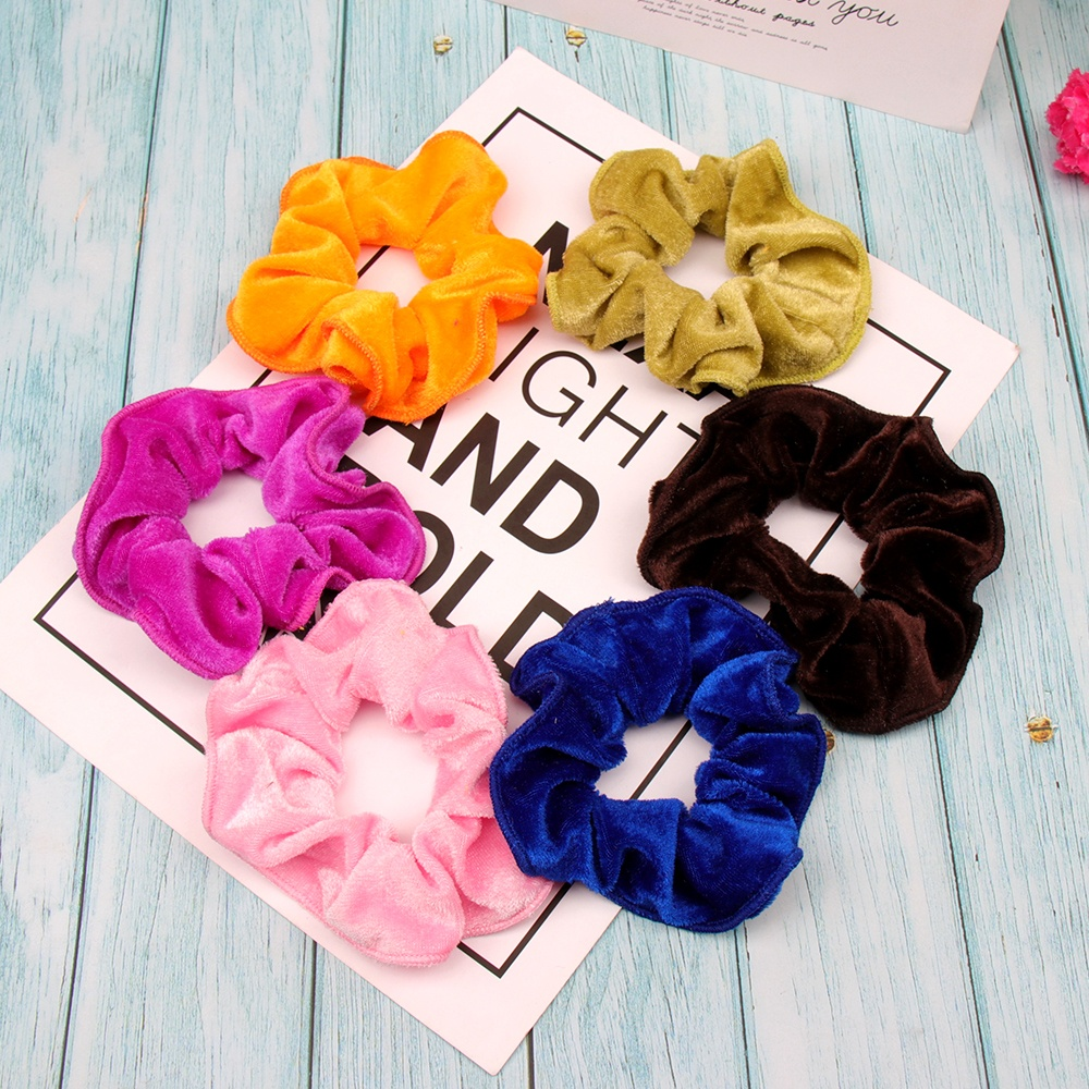 Xugar Hair Accessories Velvet Hair Scrunchies Women Solid Color Ponytail Holder Girls Elastic Hair Rope Gum For Hair