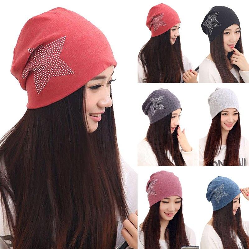 100% Wahr Heißer Verkauf Mode Neue Frauen Knit Baggy Beanie Winter Warme Bronzing Stern Mode Hülsenkopf Kappe
