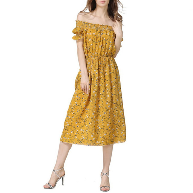 c05b175921c1 Mid long style Sexy slash neck collar off shoulder printed beach dress  women casual all-match summer dress yellow floral dresses