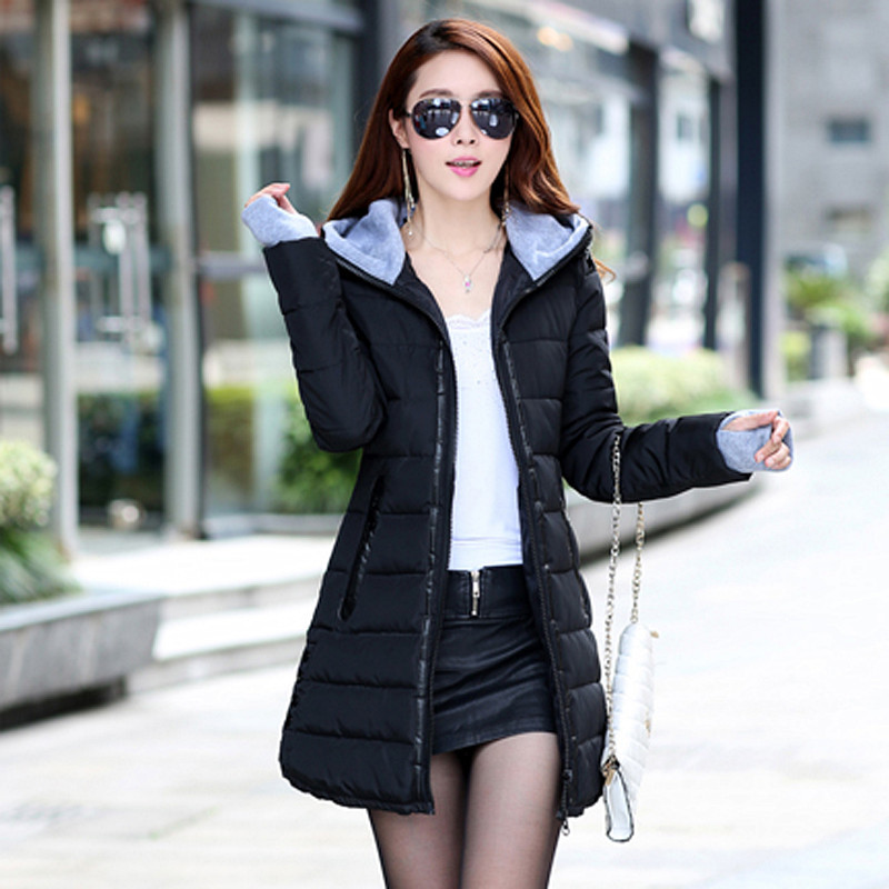 Thick Warm Women   Basic     Jacket   Hooded Black Slim Casual Cotton Winter Coats Ladies Fashion Sweet Outwear Women Long   Jacket   LD1174