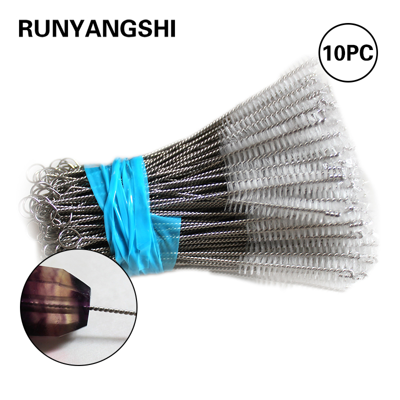 10Pcs/lot Crystal Pipe Cleaning Brush Stainless Steel Wash Drinking Pipe Straw Brushes Brush Cleaner Free Shipping