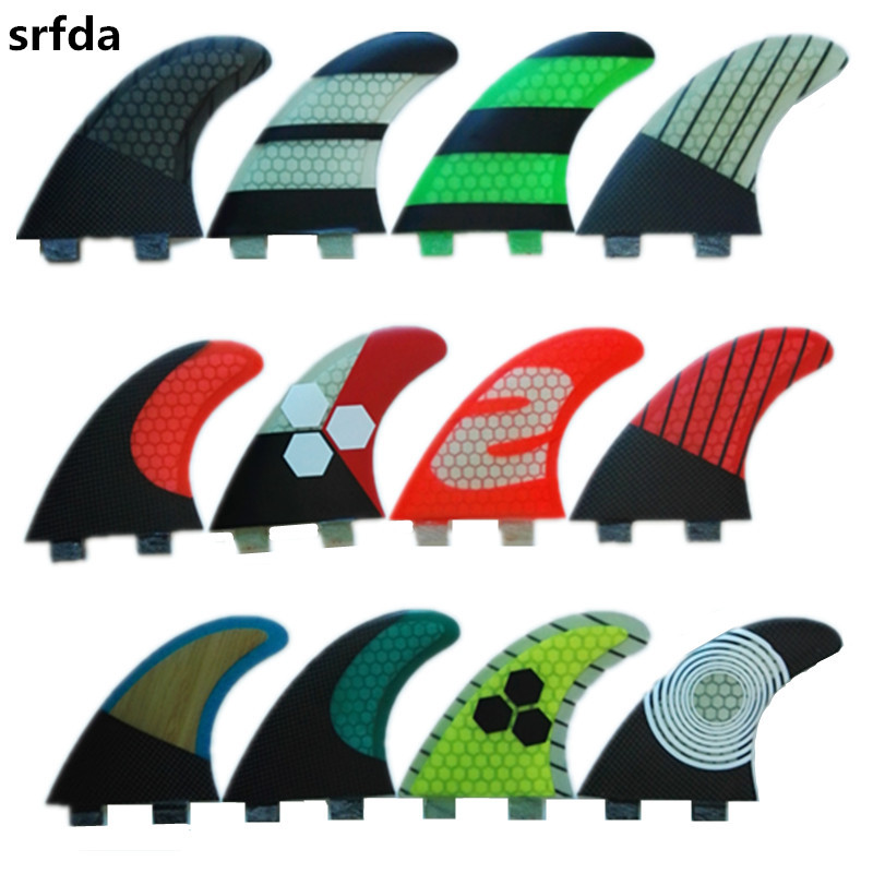 srfda Free shipping fiberglass and honeycomb For FCS box fins size G5M surf fins for surfboard(three-set)Multicolor