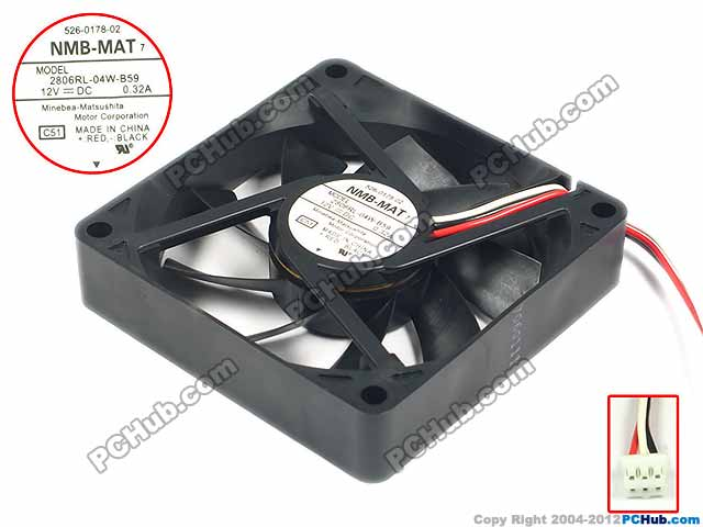 NMB-MAT 2806RL-04W-B59 C51 Server Square Fan DC12V 0.32A 70x70x15mm 3-wire nmb mat 3110kl 04w b49 b02 b01 dc 12v 0 26a 3 wire server square fan