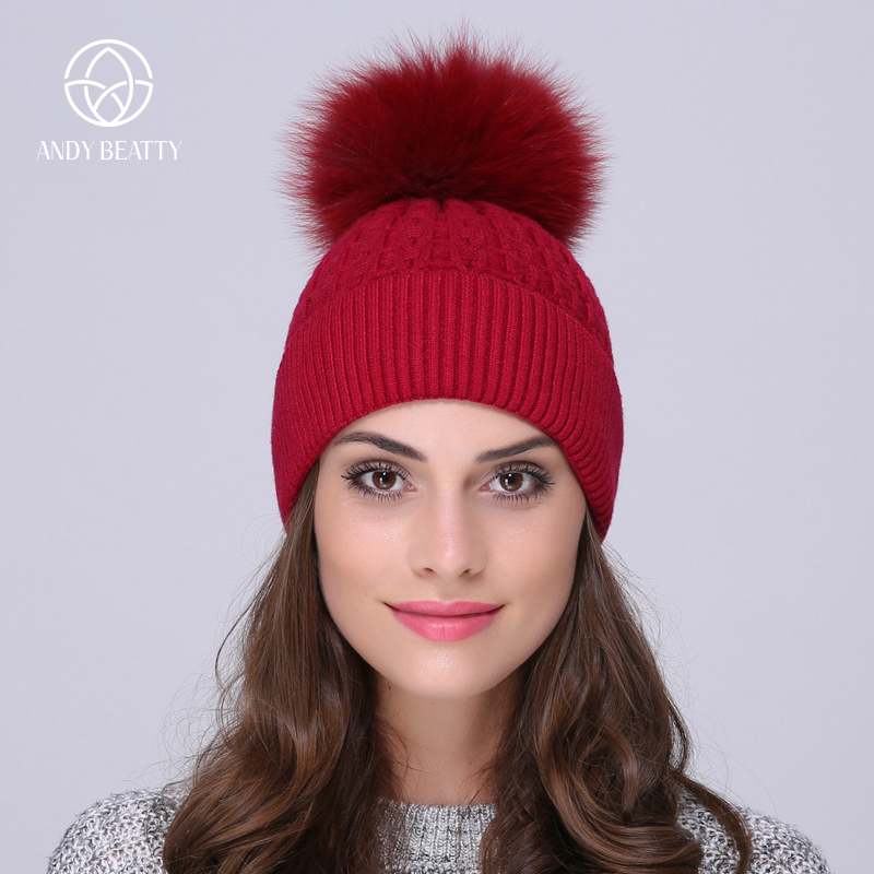 Andybeatty Fur Pompom Skullies Caps Ladies Knit Winter Hats For Women Beanies Autumn Winter Beanie Fur Hat Knitted Wool Cap skullies