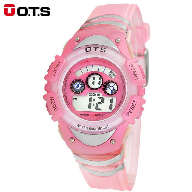 OTS Fashion Brand Children Watches LED Digital Quartz Watch Boys And Girl Student Multifunctional Waterproof Wristwatches