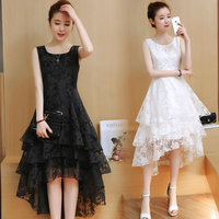 S XXL Lace Women Summer Dress Printing Sleeveless Short Front Long Back Fashion Women's Dresses Tails Slim Party Vestidos E301