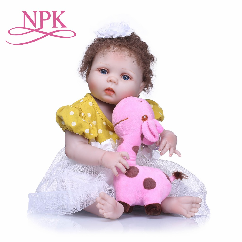 NPK 55cm Reborn Bebe Dolls Full Body Silicone Reborn Baby Girl Doll Toys Baby Newborn Doll Children Gift Bebe Alive Bonecas 22 reborn dolls toys half soft silicone body reborn baby cotton body with pacifier bear doll newborn baby bonecas child gift