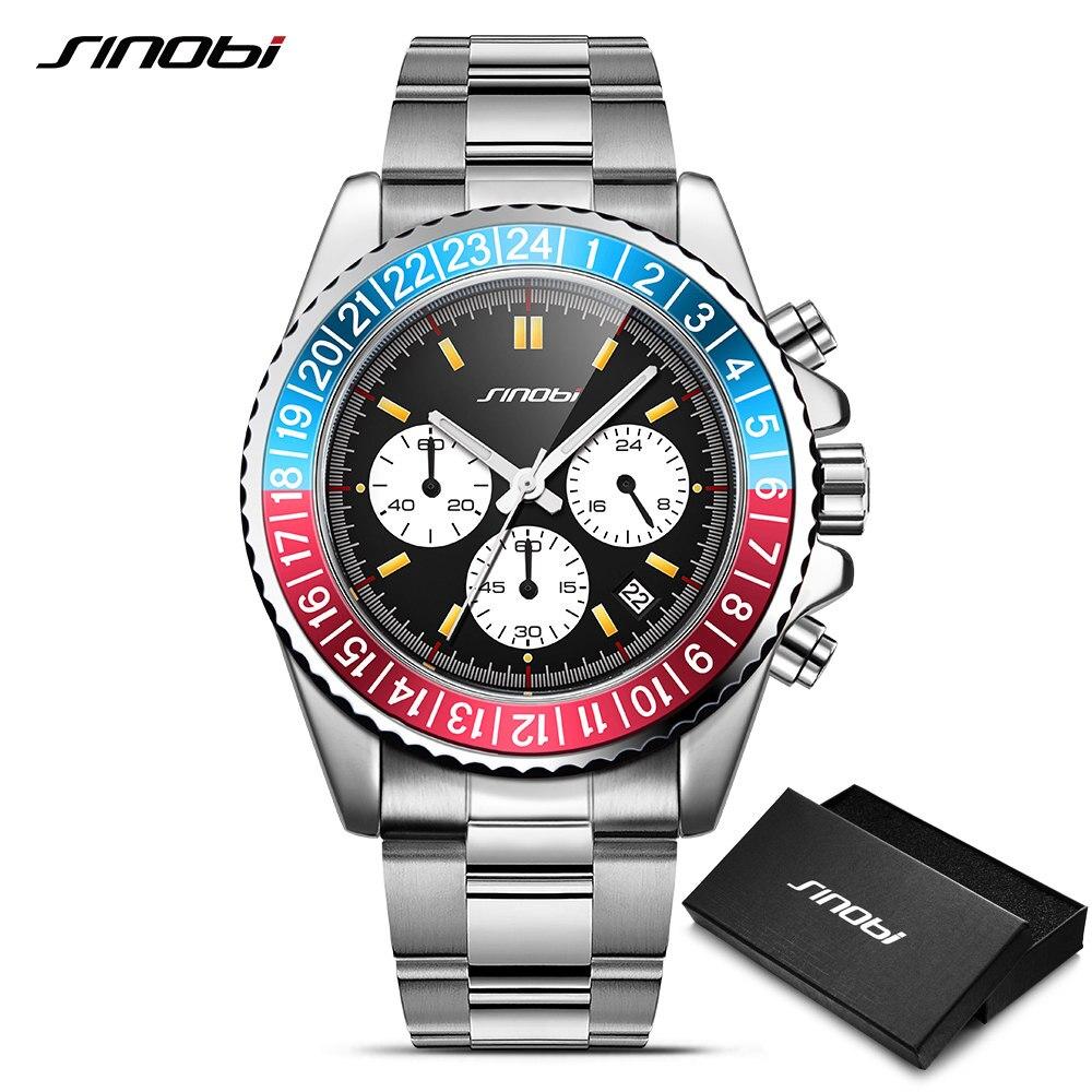 SINOBI Relogio Masculino Mens Watch Rotatable Bezel Full Steel Fashion Business Watch 2018 Chronograph Quartz Watch with box