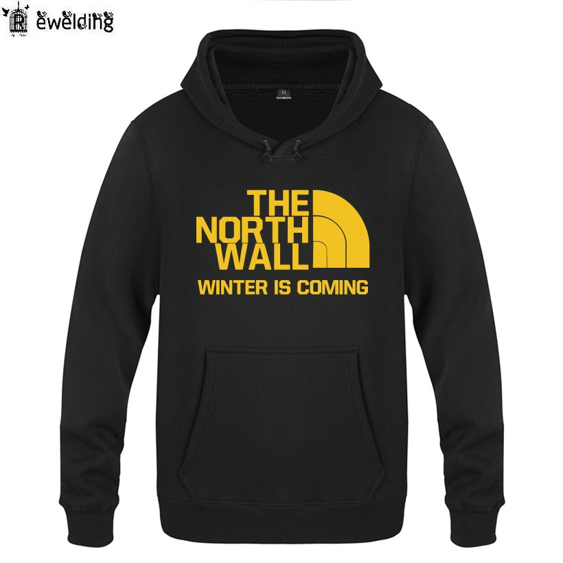 Mens Hoodies Game of Thrones THE NORTH WALL Hoodie Men Fleece Long Sleeve Mans Sweatshir ...
