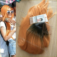 Kylie Jenner Wig Peach Hair Color Heat Resistant Synthetic Lace Front Wig 180 Density Lace Front Wig Ombre Two Tone Glueless Wig