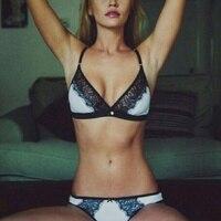 416e28dba Women Semi-Sheer Sexy Lace Bra Thong Underwear Lady Breathable Soft ...
