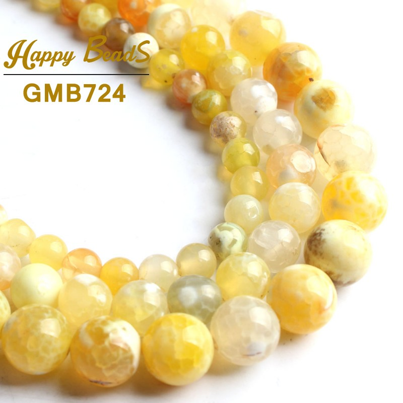 Yellow Fire Agates Natural Stone Beads Round Loose Spacer Bead For Jewelry Making 15 Inch/strand 6/8/10mm Diy Bracelet Necklace Beads