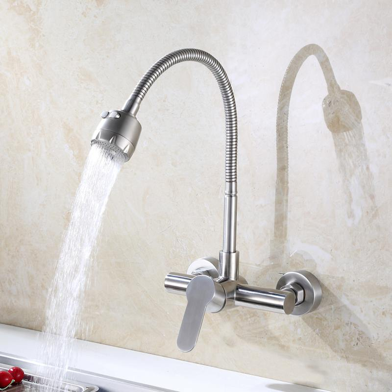 Wall Mounted Kitchen Faucet Hot and Cold Water Mixer Crane Stainless Steel Two Hole Brush Nickel Kitchen Sink Faucets frap new arrival silica gel nose any direction kitchen faucet cold and hot water mixer torneira cozinha crane f4453