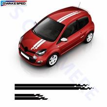 Гоночный Стайлинг, спортивные полосы, наклейка на крышу капота автомобиля, украшение кузова автомобиля, Виниловая наклейка для Renault Megane Clio, ...
