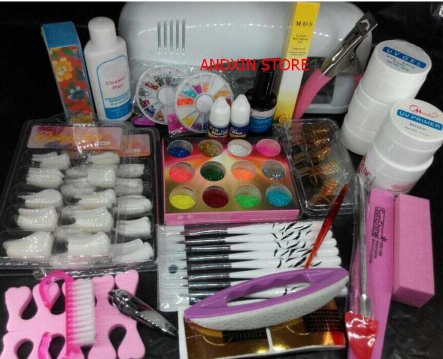 Pro Nail Art UV Gel Kits Tools Pink UV lamp Brush Tips Glue Acrylic Powder Set polish 9w att 138 pro nail polish eu us plug 9w uv lamp gel cure glue dryer 54 powder brush set kit at free shipping