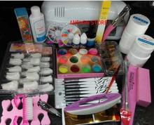 Pro Nail Art UV Gel Kits Tools Pink UV lamp Brush Tips Glue Acrylic Powder Set polish 9w