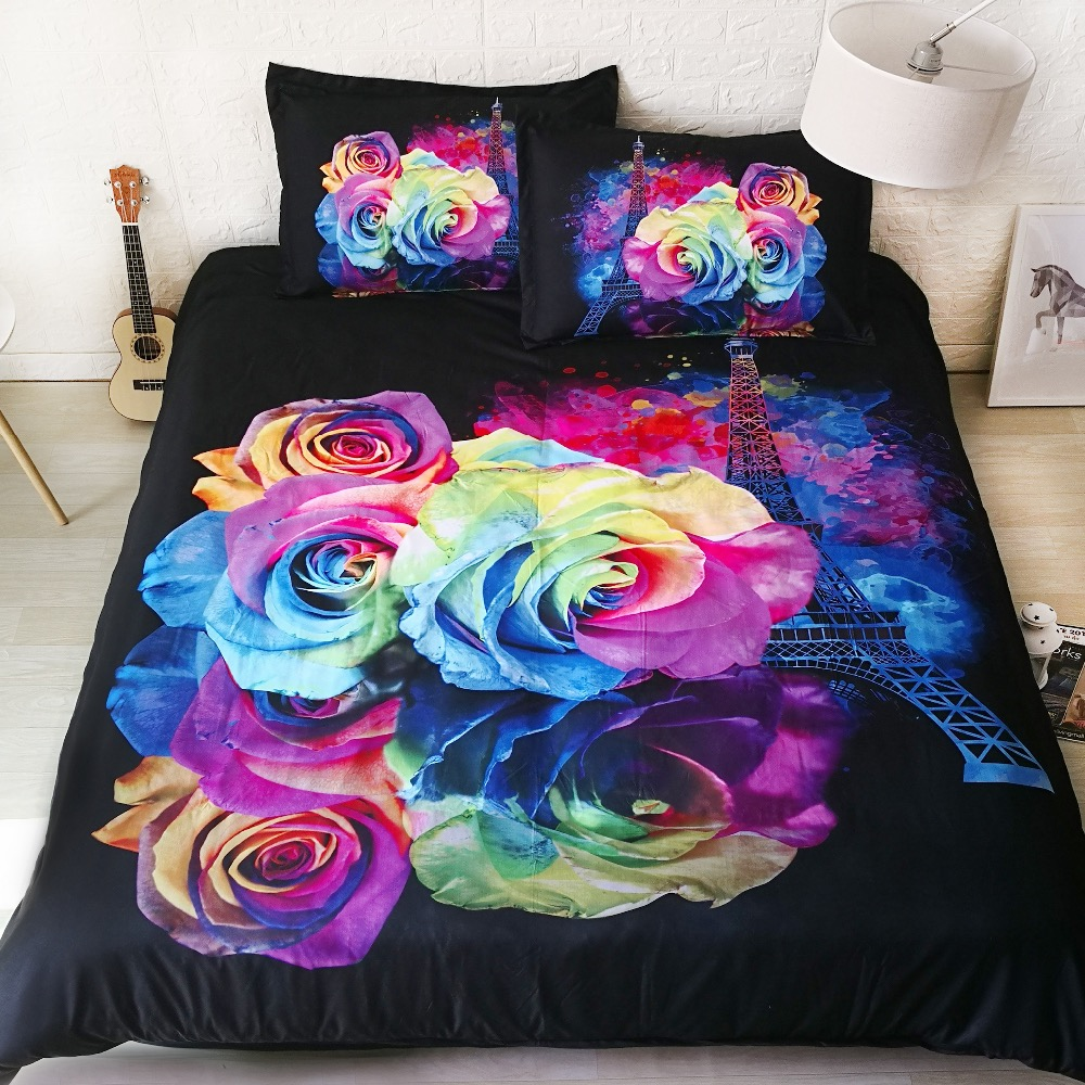 6 Parts Per Set Paris With Love Rainbow Roses And Tower 3d Bedding Set