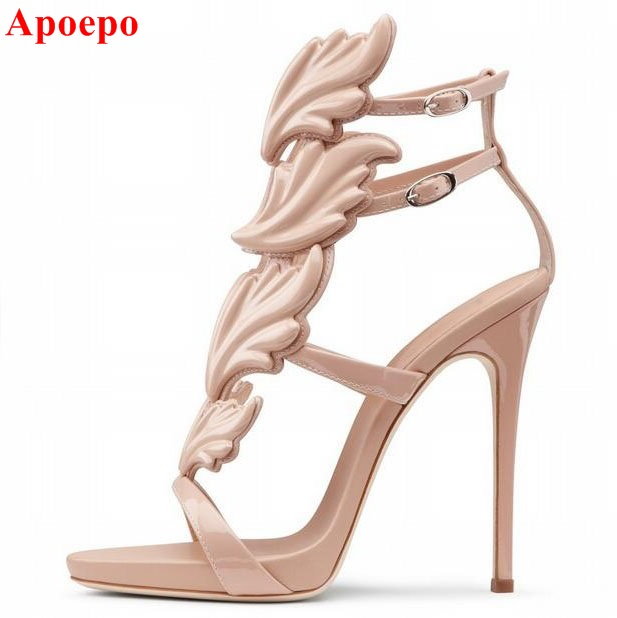 Hottest Golden Metallic Leather Wing Sandals Silver Gold Red Gladiator High Heels Shoes Women Metallic Winged Sandals