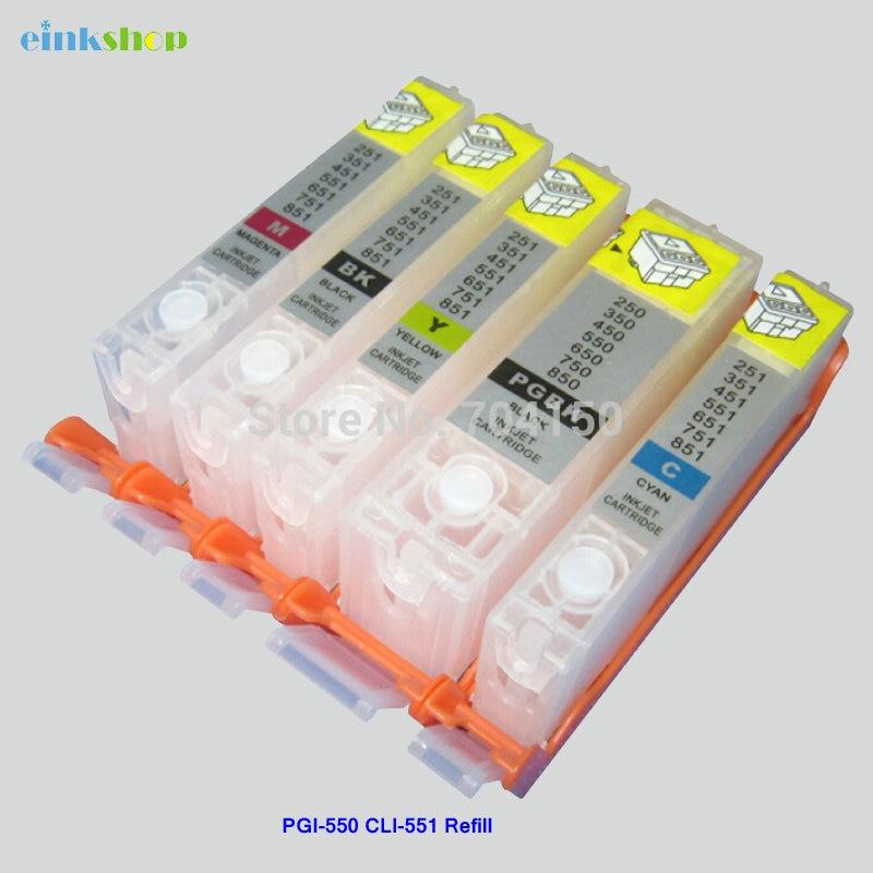 Einkshop 1 комплект PGI-550 CLI-551 пустой Заправляемый картридж для Canon Pixma IP7250 MG5450 MX925 MG5550 IX6850 MX725 MX925