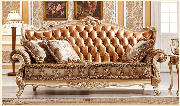 Delightful French Wooden Carved Sofa Set Classic Luxury Living Room Furniture