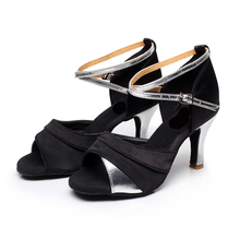 New Women's Latin Dance Shoes Ballroom Tango Samba Salsa Satin/Leatherette Glitter Buckle Shoes For Women Heel Of 5CM and 7CM