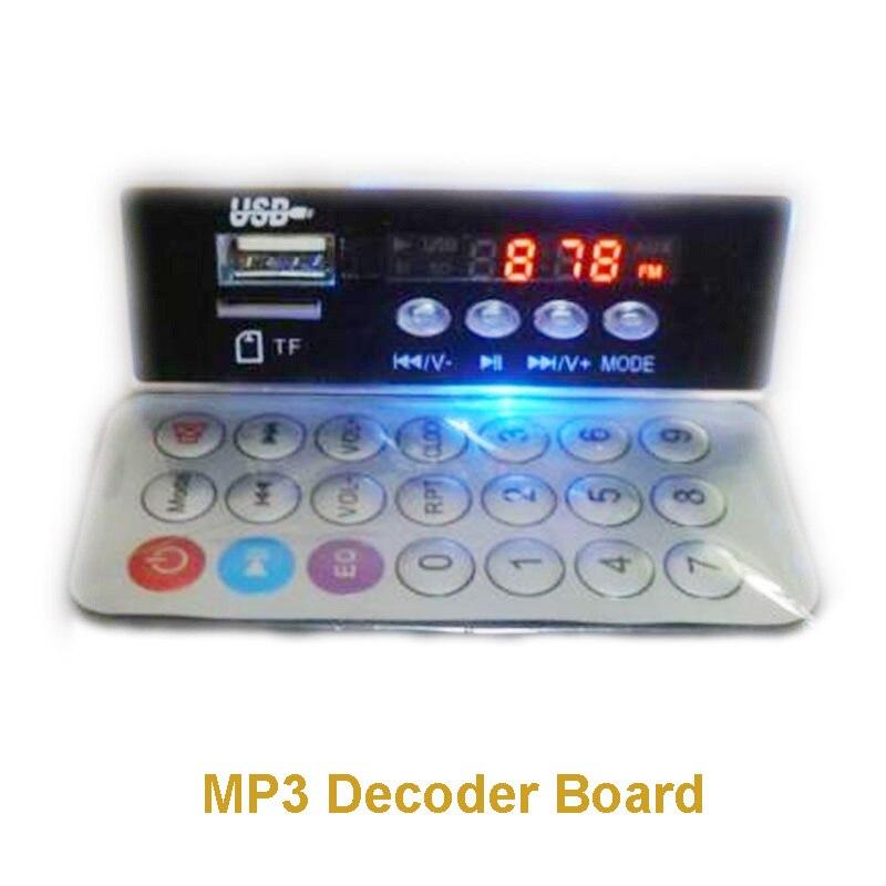 Cartão de Áudio Board com Controle Iluminação Azul Bordo Decodificador Cartão tf – Usb fm Aux Relógio Eletrônico Decodeing Remoto Controle Mp3