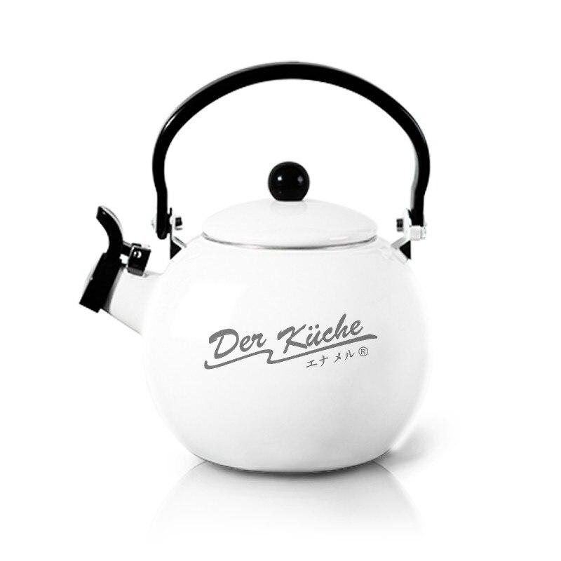 High Quality 2L Enamel Whistling Water Kettle Water Bottle Whistle Gas Induction Cooker Enamel Ring Bottle Tea Kettle
